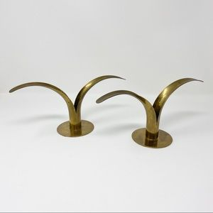Vintage Swedish Brass Lily Candle Holders